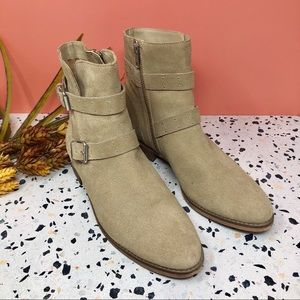 BP Riley Taupe Suede Studded Buckle Booties Sz 9